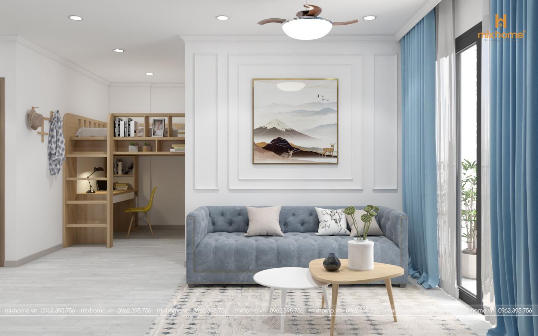 thiết kế nội thất chung cư tone xanh trời